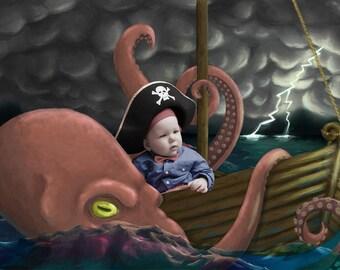 Octopus attacking pirate ship digital backdrop