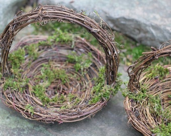 Flower Girl Basket Nest Rustic, Moss Twigs Of Grapevine,  Rustic Vintage, Shabby Chic Wedding PLEASE CHECK MEASUREMENTS