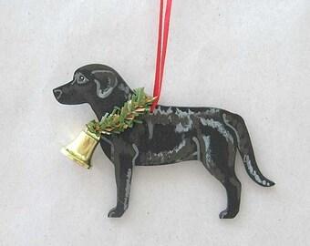 Hand-Painted LABRADOR RETRIEVER BLACK Wood Xmas Ornament...Artist Original, Christmas Tree Ornament Decoration