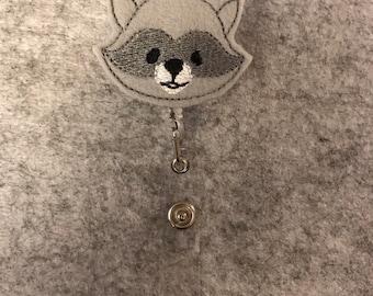Gray Raccoon Nurse Retractable Reel Badge Clip Holder
