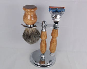 Handcrafted Shaving Set designed for Fusion/M3/Safety Razor with Stand using Red Oak
