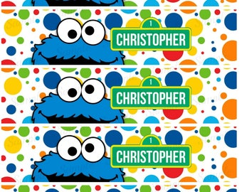 Sesame Street Water Bottle Label, Printable, Elmo Abby, Birthday Party, Baby Shower Party, Customized, Personalized