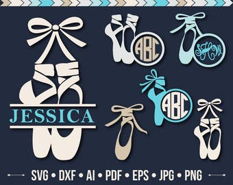 Ballet Shoes SVG Pointe Shoe SVG Princess Files Svg Little Ballerina Monogram Frame Svg Silhouette Dance Designs Cutting files Dxf Png Eps