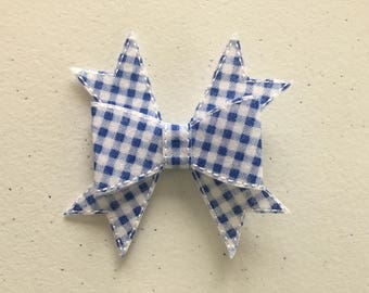 """Blue and White Checkered Hair Bow on Ribbon Covered Hair Clip 3""""  Embroidered on Felt"""