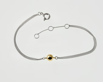 Handmade Bracelet with gold or rhodium plated ball, crafted from 925 silver and either gold or rhodium plating