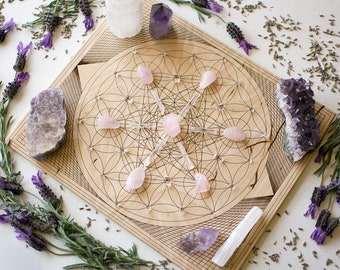 "10"" Overlapping Flower of Life and Metatron's Cube - Rectangular Birch Wood Crystal Grid Altar Board - Sacred Geometry Crystal Path"
