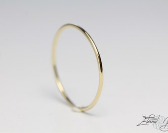 Solid 14k Yellow Gold Stacking Ring, Toe Ring, Thumb Ring, Midi Ring, Knuckle Ring