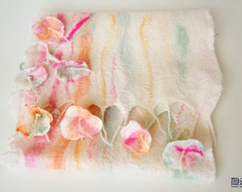 Romantic floral scarf, Nuno felted scarf, Wool and Silk scarf, Bridesmaid gift, Bridal wrap