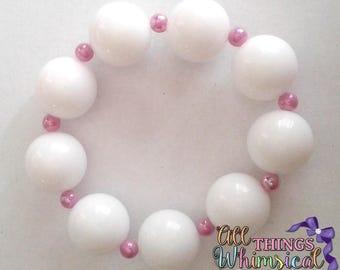 White and Purple Chunky Bubblegum Bracelet
