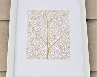 Skeleton Leaf - Gold Foil Print
