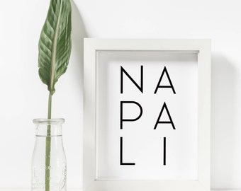 Napali Print, Napali Coast, Printable Wall Art, Kauai Printable, Beach Decor, Made In Hawaii, Modern Wall Art, Home Decor, Hawaiian Posters
