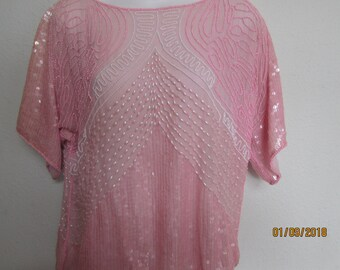 80s beaded and sequin top size large