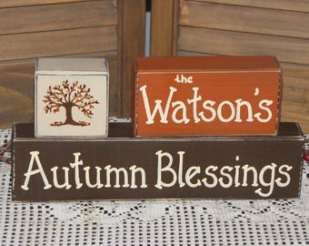 Autumn wood blocks primitive personalized country shelf sitter fall decor stacking blocks name sign
