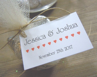 Wedding Favor Tags with Bride and Grooms Names and Date Wedding Favors - Favor Tags - Thank you Tags - Personalized Favors - Bridal Tags