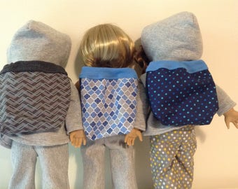 Backpack made to fit up to 18 inch dolls, choose from grey print, blue and grey print or blue dots backpack, doll accessory