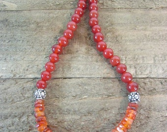 Carnelian Necklace, Burnt Orange Necklace, Gemstone Choker