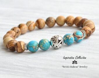 Imperial Jasper Yoga bracelet, Turquoise & brown Beaded bracelet ,Gift for her, Yoga Jewelry boho bracelet, Mala beads, Turquoise bracelet