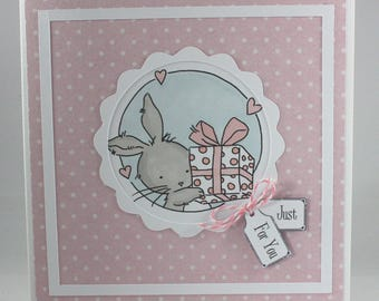 Handmade any occasion card - bunny with gift