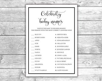DIGITAL FILE - Celebrity Baby Names - Baby Shower Games - Black and White, Printable, Activities, BW1002