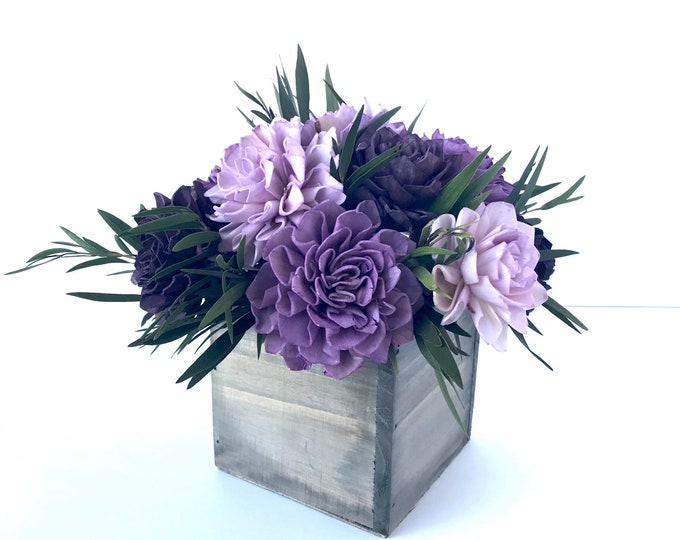 Purple Dahlia Sola Flower Arrangement, Sola Flower Centerpiece, Sola Flower bouquet, Rustic Floral Arrangement