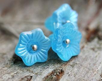 Aqua Blue Czech glass flower beads, 13mm Blue bell flowers Matte finish - 6Pc - 1784