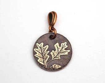 Copper acorns and oak leaves pendant, small round flat jewelry, optional necklace, 22mm