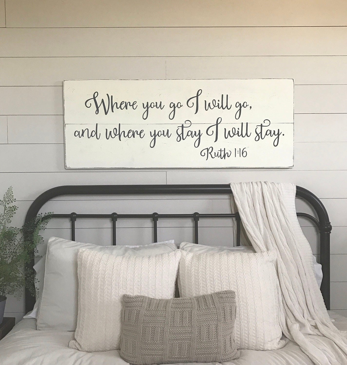 Bedroom Wall Decor Where You Go I Will Go Wood Signs