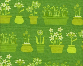 Michael Miller Patty Young Lush Flower Shop in Green -  Half Yard