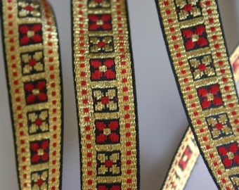 Pretty flowers in Black - black gold and red Bollywood Trim (1 meter)