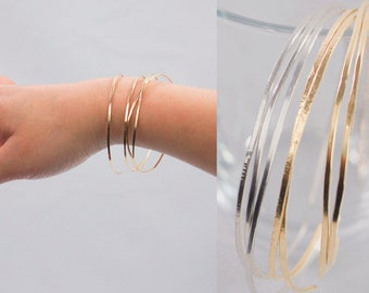 Thin Dainty Cuff Bracelet Dainty Stacking Bracelet Hand-Hammered or Smooth Finish Dainty Cuff in 14k Gold Fill, Sterling,  Rose Gold Fill