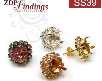 2pcs x Round 8mm Bezel Rhinestone Post Earrings Fit Swarovski ss39 Crystal, Choose your Finish (PO39SSCRYV)