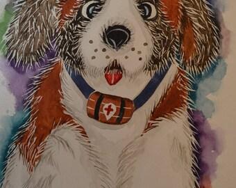 "Watercolor ""BERNIE"", the Saint Bernard dog plush, paint Opal Isis"