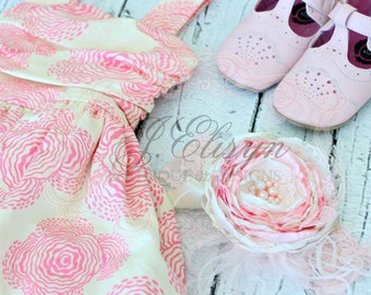 pink and ivory couture headband | baby vintage headband m2m Persnickety