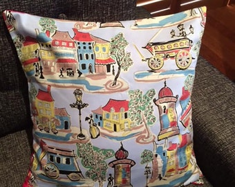 Retro Parisian Rare Vintage Fabric Pillow/ Cushion