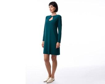 Green  dress, jersey dress , winter dress, Long Sleeve Dress, Fashion Dress, Womens Winter Dresses