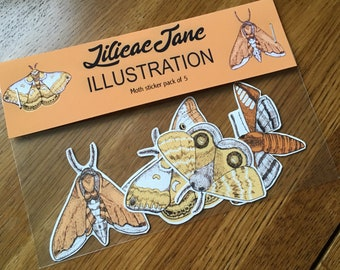 Moth sticker pack of 5   Stickers   Tattoo   Illustration   Insects   Nature