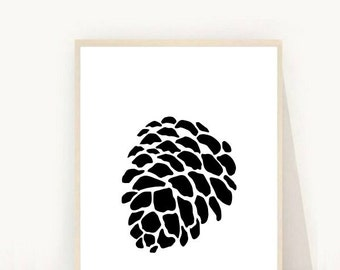 Pine Cone Print, Abstract Art Print, Printable Wall art, Black and white Print, Modern Wall Art, Minimalist Print, Instant Download