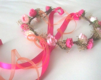 Baby Flower crown Infant headband photo shoot prop portraits Coral Hot Pink hair wreath dried flowers halo wedding accessories flower girl