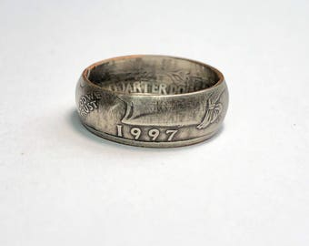 Choice of Birth Year - Birthday - Money - Coin Ring - Coin - Jewelry - Quarter Ring - Gift - Wedding Ring - Husband - Wife - Anniversary