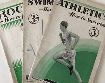 How to Succeed Vintage 1930s sports booklets - Swimming/Athletics/Hockey