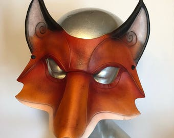 Leather Fox Mask - Child or adult