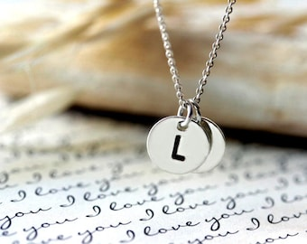 Initial Necklace Sterling Silver Initial Disc Necklace Monogram Celebrity Inspired necklace Bridesmaids gift Initial charm necklace letter