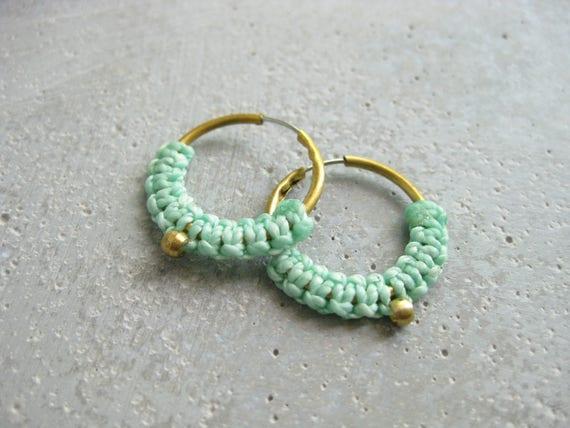 Iara . Dainty Fiber & Brass Hoop Earrings . © Design by .. raïz ..