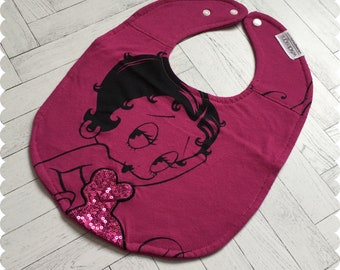 Betty Boop Baby Bib, Recycled T-Shirt Baby Bib, Baby Girl Gift, Cute Bib, Baby Shower Gift