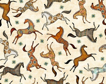 Southwest Fabric - Wild Horses - Painted Horses - Southwest Soul  - Dan Morris Quilting Treasures - 26639 Cream - Priced by the 1/2 yd