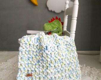 Baby Blanket ~ Crochet Blanket ~ Crochet Baby Blanket ~ Baby Shower Gift ~ Stroller Blanket ~ Chenille Blanket ~ White, Blue & Green