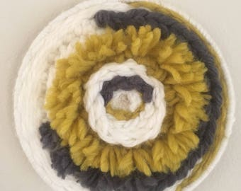 ECLIPSE - Double sided handwoven circular wall hanging