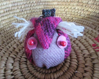 Cute Pink Owl Keyring made from Scottish Tweed