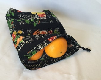 Fabric Produce Bag/Garden To Table Grocery Bag/Drawstring Shopping Bag/Eco Friendly No Waste Shopping Bag