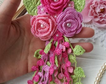 Crochet flowers/crochet brooch /crochet bouquet